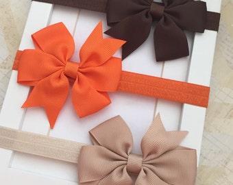 Set of 3 Brown,Orange and Tan headband bows,newborn headbands,baby headbands, baby bows,toddler headbands,infant headbands,bows