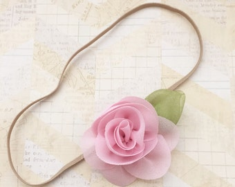 Pink headband,infant headband,dainty headband,newborn headband,girls headbands,baby headband,tan headbands,baby girl,flower headbands