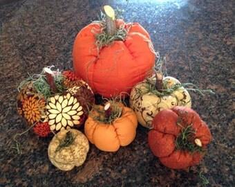 Fall Colors Fabric Pumpkins, set of 6