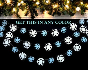 Blue Snowflake Garland, Paper snowflake Garland, Christmas Decorations, Blue white garland, Mantle Decoration, 10 ft frozen snowflake banner