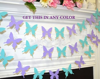 Butterfly garland, wedding garland teal lilac purple butterfly, butterfly theme decor, birthday decor, baby shower garland, butterflies