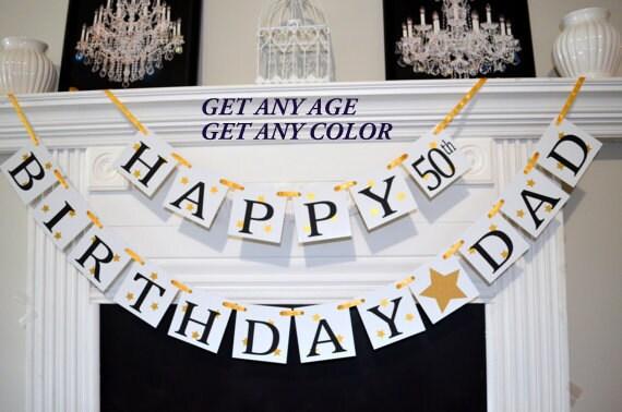 Happy Birthday Dad banner 50th birthday banner Gold Birthday