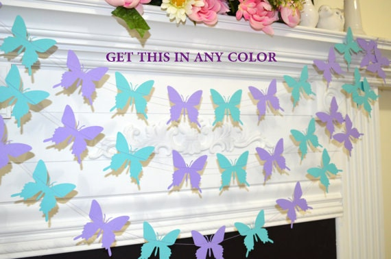 Butterfly Garland Wedding Teal Lilac Purple