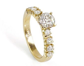Unique engagement Diamond Ring 0.90 Carats  14K Yellow gold Diamond Ring, Engagement Ring, Size 7