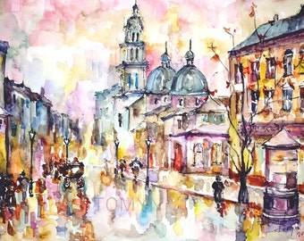 NEW!!!  Fall  in Lviv. Ukraine.  Print from original watercolor.