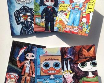 Super Cute Halloween / Horror themed cards. Work for all occasions 6 Designs, Pinhead, Jason, Freddy, Lecter, Chucky, Jigsaw Super Kawaii
