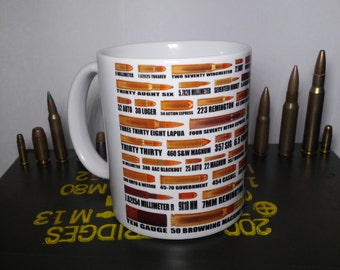 Ammo Sizes Mug - 59 different bullet sizes from .22 Short to .50 BMG