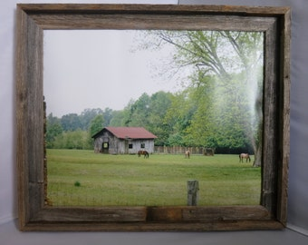 "Farm photo in a Rustic wooded frame  16""x 20"""