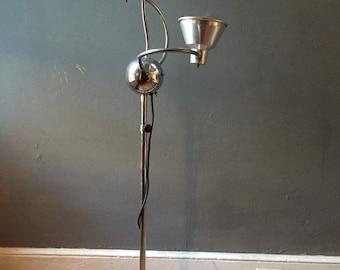 Mid century modern floor lamp fully adjustable crane neck atomic era