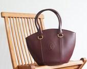 Vintage Cartier Bag / Burgundy leather handbag