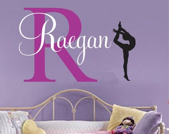 Girls name decal gymnast wall decal Gymnastics Vinyl Sticker Decals Art Decor Design Wall Decal girls room personalized, Vinyl Wall Art