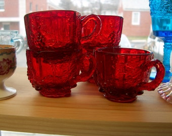 5 Vintage Westmoreland Glass Ruby Red Cups, Punch Cups, Grapes (Price for All), WAS 50.00 - 50% = 25.00