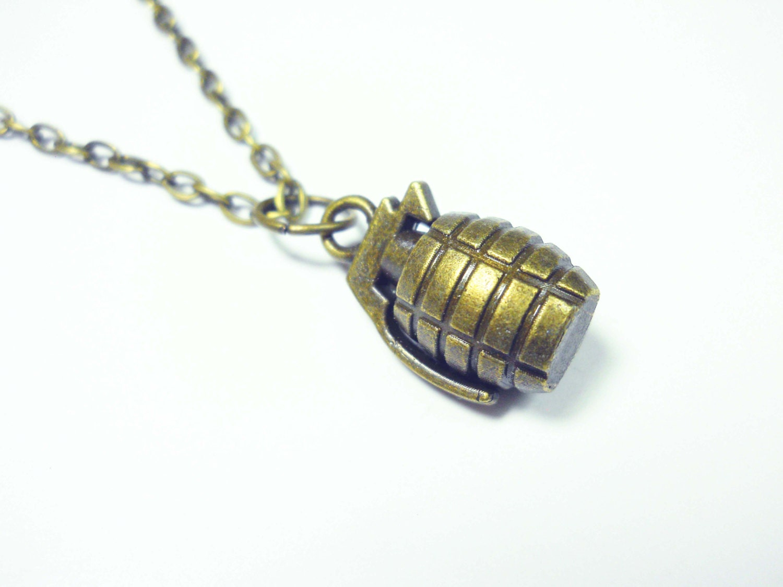 grenade pendant antique bronze tone s necklace