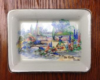 "Sandland Ware ""In An Old World Garden'' c.1945 Butter Pad"