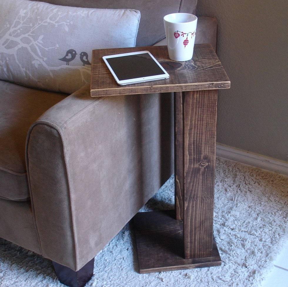 Sofa chair arm rest tray table stand ii by keodecor on etsy for Sofa side table designs