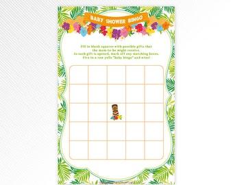 Hawaiian luau Bingo card - tropical baby shower printable game - INSTANT DOWNLOAD