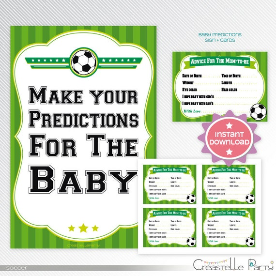 Green Soccer Baby Predictions Baby Shower Printable Game