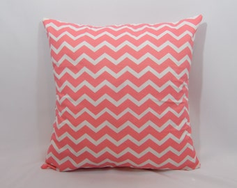 Custom made coral and white chevron pillow cover/sham. Multiple sizes to choose from.