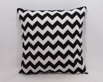 Custom made black and white chevron pillow cover/sham. Multiple sizes to choose from.