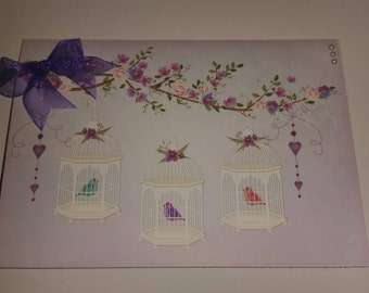 Handmade Birdcage A6 greetings card