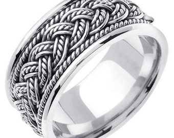 14K Gold 8 Strands Hand Braided Wedding Ring Band