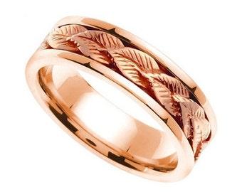 Rose Gold Leaf Design Wedding Band