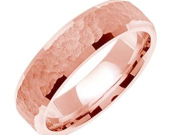 Pink Gold Hammered Wedding Ring