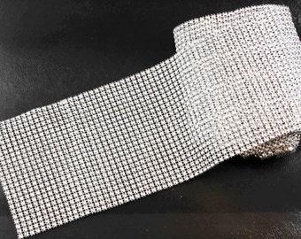 1 metre (39 inch) of Silver-coloured Diamante Mesh (24 rows)