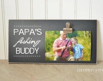 fisherman photo frame gift for papa gift for grandpa custom picture frame papas fishing buddy personalized photo frame fathers day
