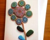 Painted stone mandala flower 2 - Greeting Card