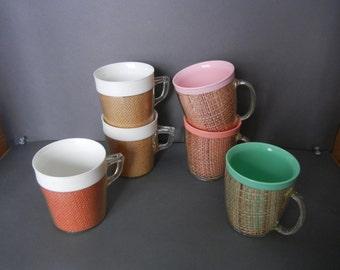 Vintage Raffia Coffee cups, Raffia Coffee mugs,