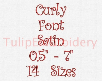 Curly Font 14 Sizes Embroidery Design