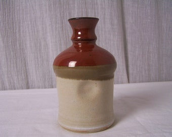 Vintage KCM Multi Earthen Tones Oil Vinegar Ceramic Thumb Print Bottle 14 Ounce
