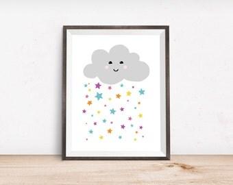 "Starry Rain Cloud Printable Art Print - Instant Download - 4x6"" 5x7"" 8x10"" 8.5x11"" A4 11x14"""