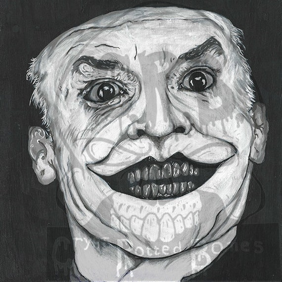 10x10 Black And White Art Print Nicholson As The Joker