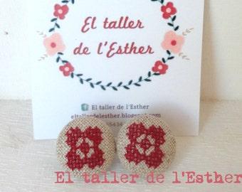 Nice earrings original design, cross stitch embroidery on linen