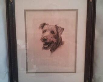 Artwork original artwork dog engraving terrier engraving