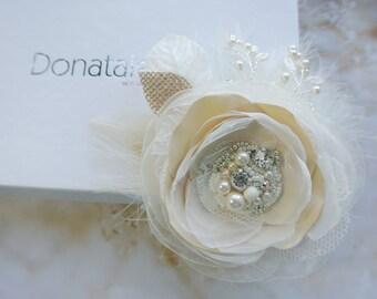 Wedding hair flower and Birdcage veil set -Wedding hair piece - Bridal Hair Clip- Bridal Hair flower -Pink Blush Wedding headpiece -LAURA