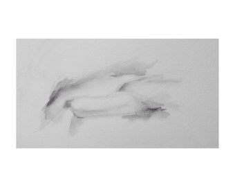 Reclining Figure - 6 x 10, graphite/wash on paper