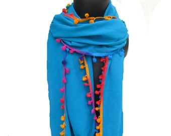 Tassel scarf/ multicolored scarf/ plain  scarf/ blue colored scarf / long scarf/ women scarf/ gift scarf/  gift ideas.