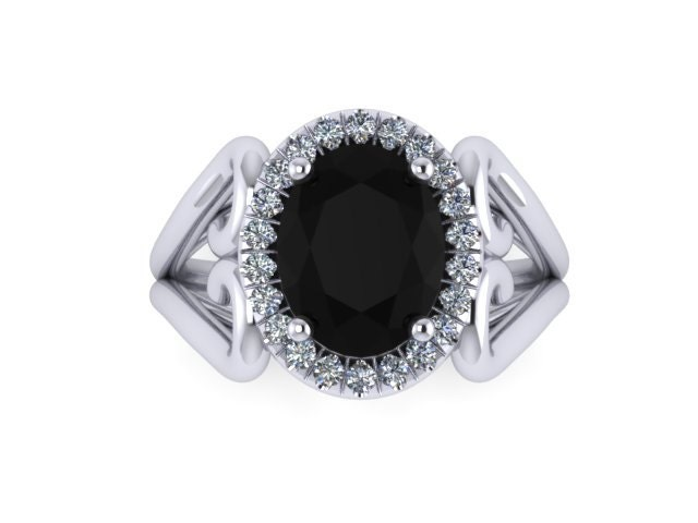 Unique Engagement Ring Oval Black Diamond Engagement Ring