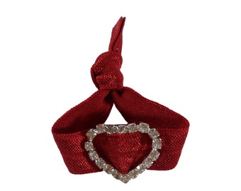 Hair Tie with a Rhinestone - Scarlet Red Valentine's Day Inspired  Hair Tie that Doubles as a Bracelet by O twist