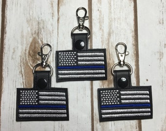 Thin blue line flag key chain - zipper pull - bag tag - snap tab