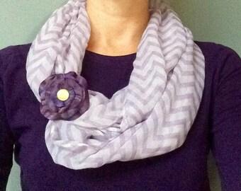 Purple Leather Flower Scarf Cuff