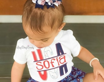 USA fourth of July embroidered personalized patriotic shirt bodysuit baby girls red white and navy blue