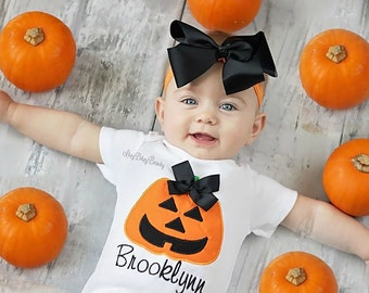 Jack-o-lantern Girls Shirt- Halloween Shirt Or Bodysuit - First Halloween - Pumpkin Shirt - Girls Halloween Outfit