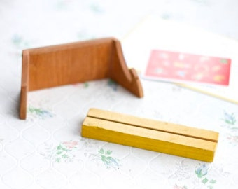 Vintage Wood Card Holders - Set of 2 - Natural wood and yellow - Card Dispenser