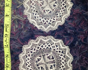2 Lace Doilies Matching White Handmade Lace Doily Coasters Vintage Table Decor 5 inches.