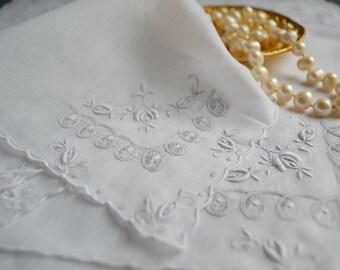 Vintage Swiss cotton voile embroidered hankie