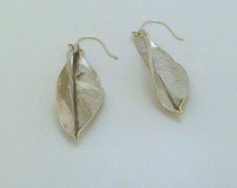 Medium Sterling Silver Leaf Earrings